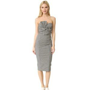 Veronica Beard Birdie Gingham Strapless Dress